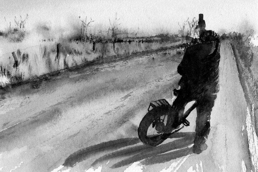 Watercolor painting. Bicyclist taking picture on country road. Monochromatic.