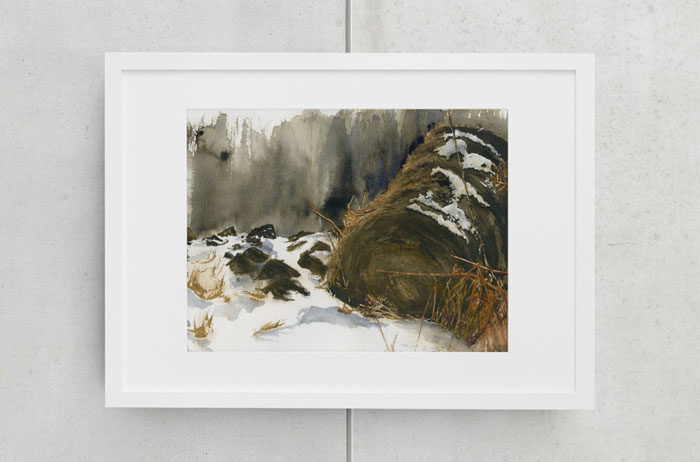 Link to Lonely Haybale page. Photo of a painting of a snowy haybaleon a wall.