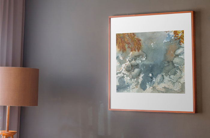 Link to Icy Stream Page. Photo of a painting of an icy stream on a wall.