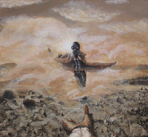 """Acrylic painting """"Into Dust"""". Girl in a gasmask walking through dust holding a gun. A man is lying on the ground."""