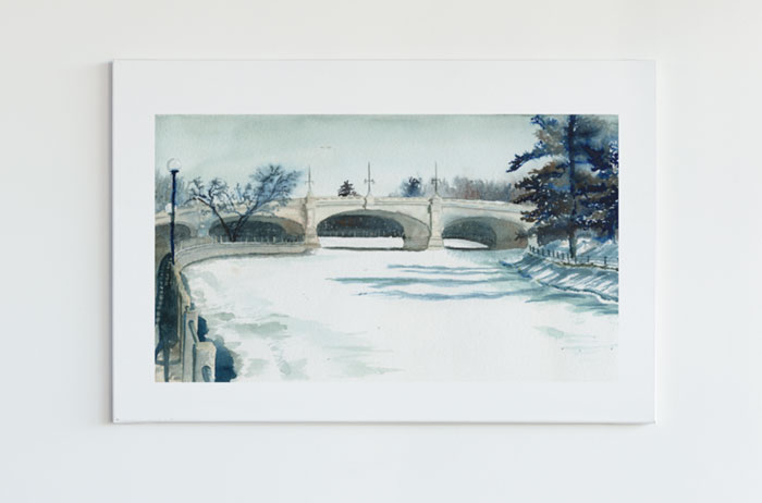 Link to Rideau Canal page. Photo of the Rideau Canal bridge over the frozen canal.
