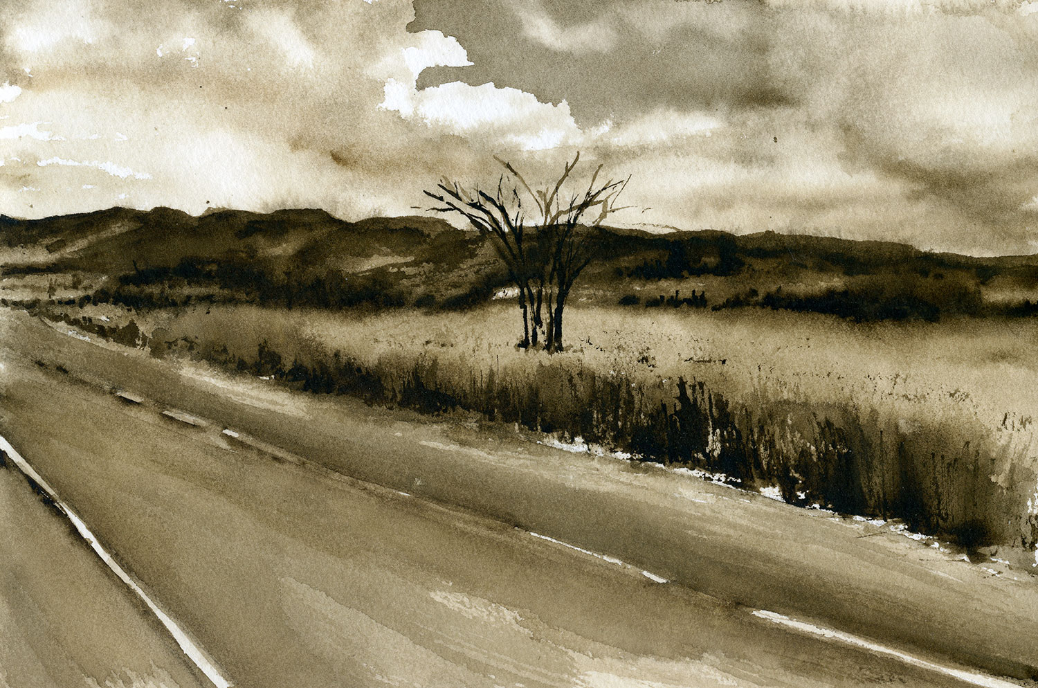 Watercolor painting in sepia of a highway beside a field with a single tree and distant mountains.