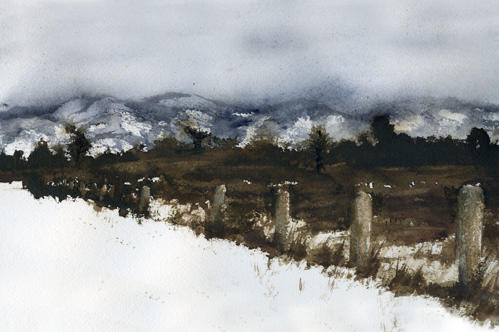 Watercolor painting. Snowy field painting with distant mountains.