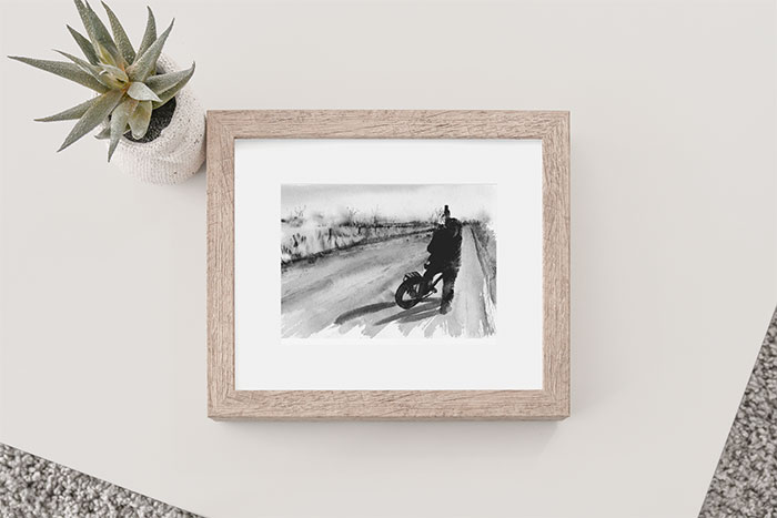 Photo of Country Roads painting in a frame on a table next to a aloe vera plant.