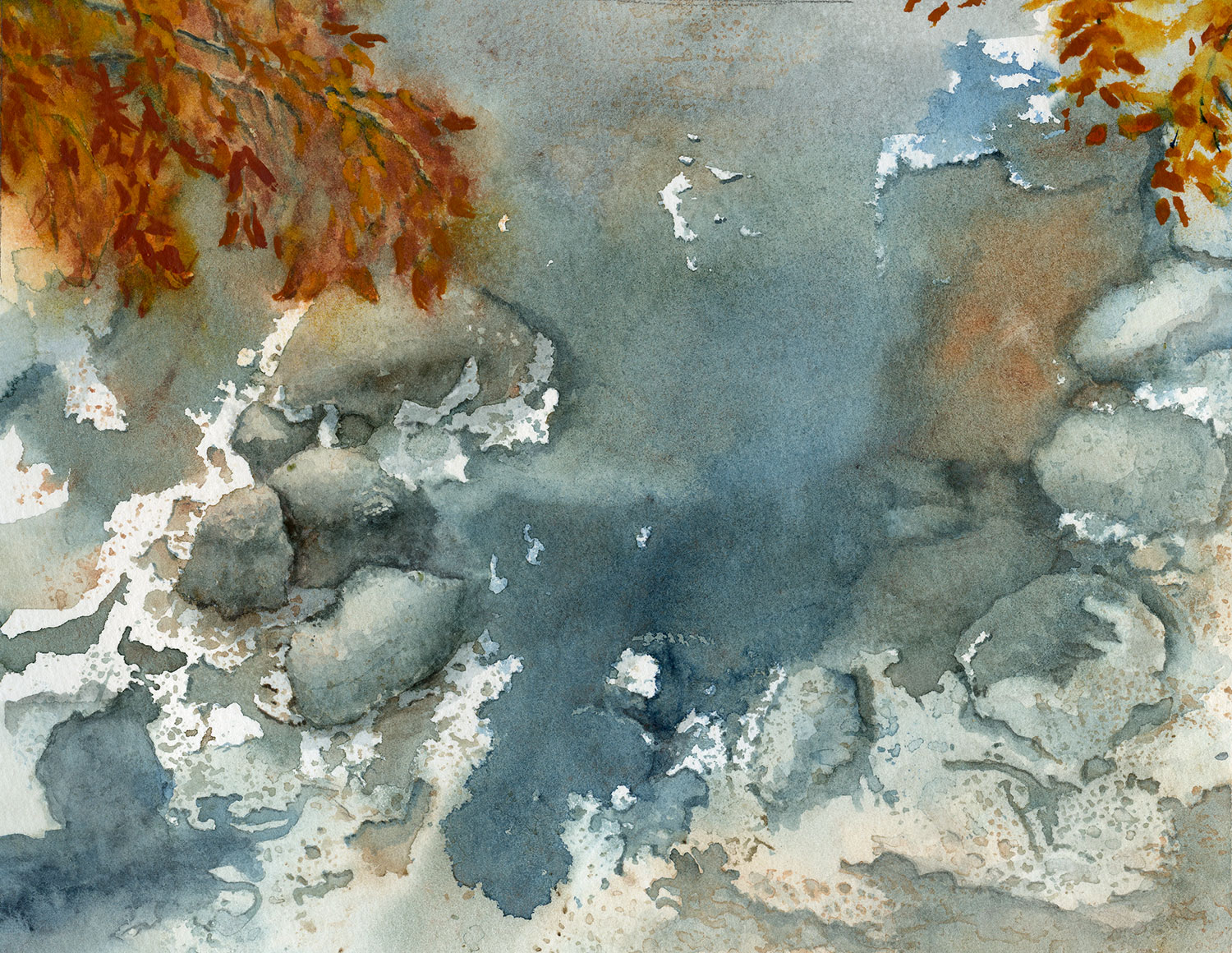 Watercolor painting of an icy stream with rocks at the edges.
