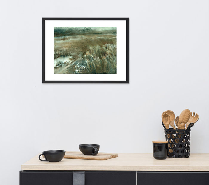 Photo of framed painting of a muddy field. Painting on a wall.