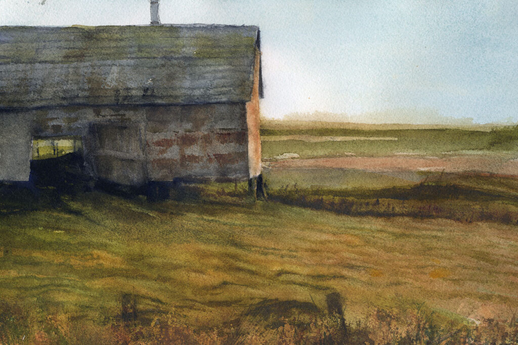 Watercolor painting of an old barn in a field.