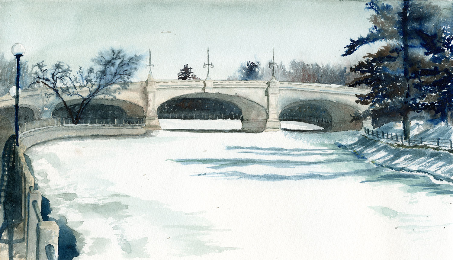 Watercolor painting of a bridge over the Rideau Canal.
