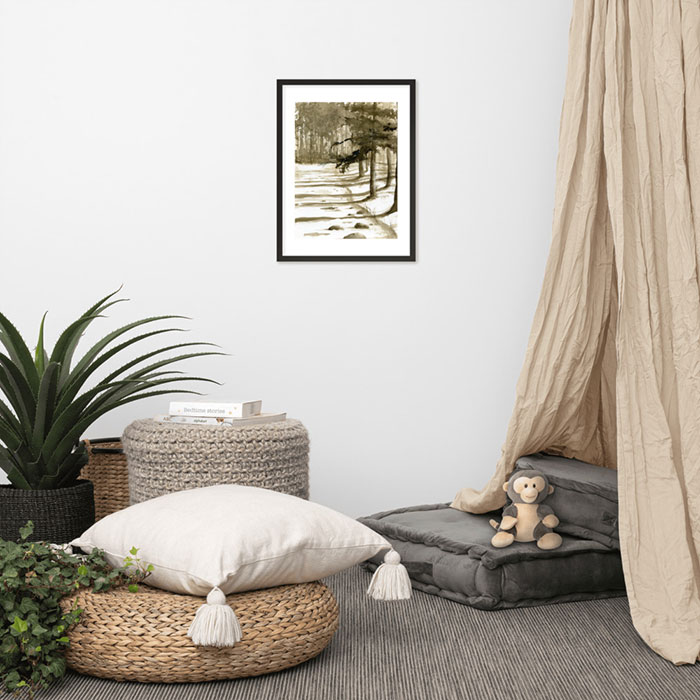 Photo of framed painting on a wall. Painting is of a snowy river with trees on one side.