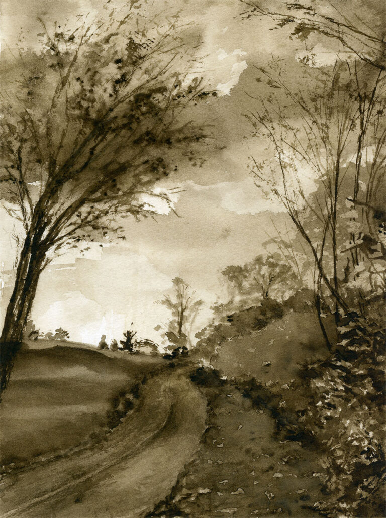 Sepia watercolor painting of a path and a large tree beside it.