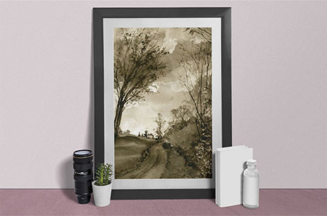 Link to Late Fall Collection. Painting of a bike path with trees around it.