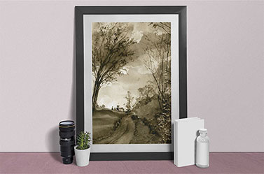 Link to Fall Path page. Photo of a painting of a tree beside a path. The picture leans against a wall.
