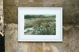 Link to Muddy Field page. Photo of a painting of a muddy field on a wall.