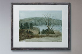 Link to Spring Field page. Photo of a painting of a field and river on a wall.